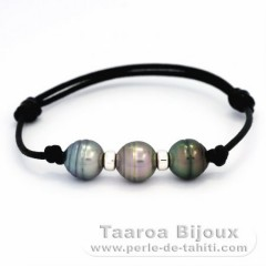Leather Bracelet and 3 Tahitian Pearls Ringed C 9.7 mm