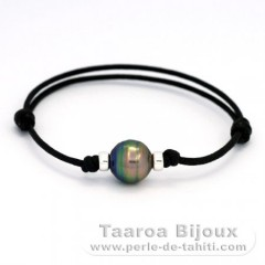 Waxed Cotton Bracelet and 1 Tahitian Pearl Ringed C+ 11 mm