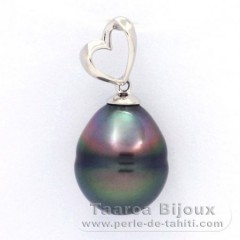 Rhodiated Sterling Silver Pendant and 1 Tahitian Pearl Ringed B 10 mm