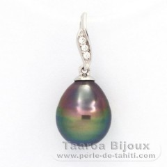 Rhodiated Sterling Silver Pendant and 1 Tahitian Pearl Ringed B 9.9 mm