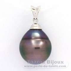 Rhodiated Sterling Silver Pendant and 1 Tahitian Pearl Ringed C 13.8 mm