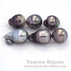 Lot of 6 Tahitian Pearls Baroque D from 9.5 to 9.7 mm