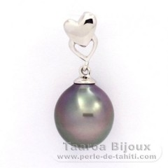 Rhodiated Sterling Silver Pendant and 1 Tahitian Pearl Semi-Baroque B 9.7 mm