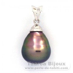 Rhodiated Sterling Silver Pendant and 1 Tahitian Pearl Ringed B 11.6 mm