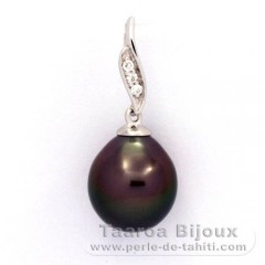 Rhodiated Sterling Silver Pendant and 1 Tahitian Pearl Semi-Baroque B 9.4 mm