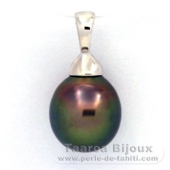 Rhodiated Sterling Silver Pendant and 1 Tahitian Pearl Semi-Baroque B 9.3 mm