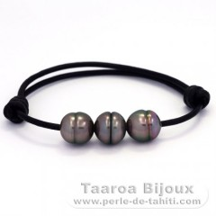 Leather Bracelet and 3 Tahitian Pearls Ringed B 10.5 mm