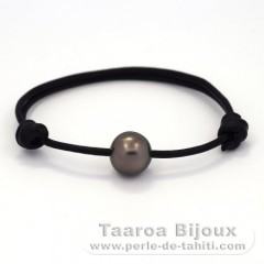 Leather Bracelet and 1 Tahitian Pearl Semi-Baroque B 11.7 mm