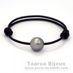 Leather Bracelet and 1 Tahitian Pearl Near-Round C 12.4 mm