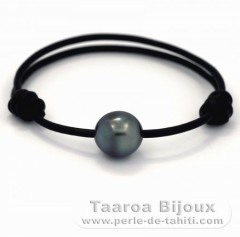 Leather Bracelet and 1 Tahitian Pearl Semi-Baroque C 11.6 mm