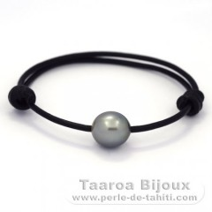 Leather Bracelet and 1 Tahitian Pearl Semi-Baroque B 11.5 mm