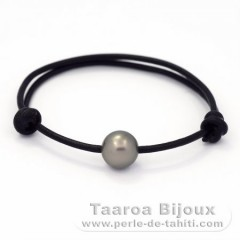 Leather Bracelet and 1 Tahitian Pearl Round C 10.6 mm