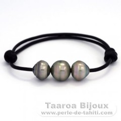 Leather Bracelet and 3 Tahitian Pearls Ringed C  11.5 to 11.9 mm