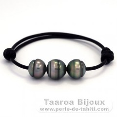 Leather Bracelet and 3 Tahitian Pearls Ringed C  11.6 to 11.9 mm