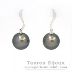 Rhodiated Sterling Silver Earrings and 2 Tahitian Pearls Round C 11 and 11.2 mm