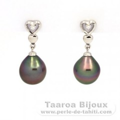 Rhodiated Sterling Silver Earrings and 2 Tahitian Pearls Semi-Baroque A 9.1 mm