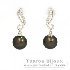 Rhodiated Sterling Silver Earrings and 2 Tahitian Pearls Round C 9.3 mm