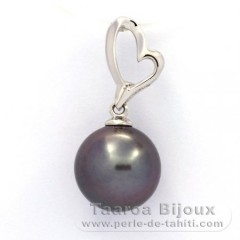 Rhodiated Sterling Silver Pendant and 1 Tahitian Pearl Round C 10.9 mm