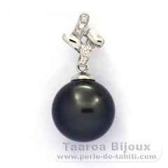 Rhodiated Sterling Silver Pendant and 1 Tahitian Pearl Round C 12.1 mm