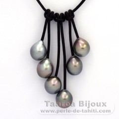 Leather Necklace and 6 Tahitian Pearls Semi-Baroque B  9.5 to 9.9 mm
