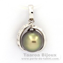 Rhodiated Sterling Silver Pendant and 1 Tahitian Pearl Semi-Baroque C 9.2 mm