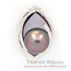 Rhodiated Sterling Silver Pendant and 1 Tahitian Pearl Semi-Baroque C 9.3 mm