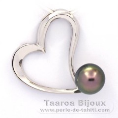 Rhodiated Sterling Silver Pendant and 1 Tahitian Pearl Semi-Baroque C 9.5 mm