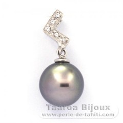 Rhodiated Sterling Silver Pendant and 1 Tahitian Pearl Round C 9.7 mm