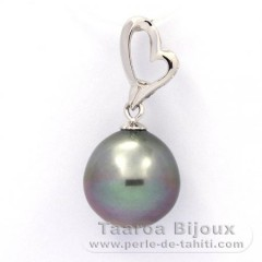 Rhodiated Sterling Silver Pendant and 1 Tahitian Pearl Semi-Baroque C 12.2 mm