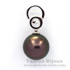 Rhodiated Sterling Silver Pendant and 1 Tahitian Pearl Round C 11.7 mm