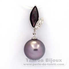 Rhodiated Sterling Silver Pendant and 1 Tahitian Pearl Round C 10.5 mm
