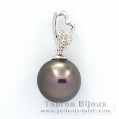 Rhodiated Sterling Silver Pendant and 1 Tahitian Pearl Near-Round C 12.1 mm