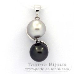 Rhodiated Sterling Silver Pendant and 2 Tahitian Pearls Near-Round C 8.2 and 8.4 mm