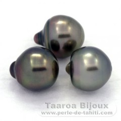 Lot of 3 Tahitian Pearls Semi-Baroque B 10.2 mm