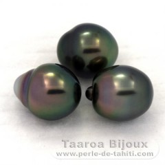 Lot of 3 Tahitian Pearls Semi-Baroque B from 9 to 9.1 mm