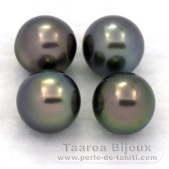 Lot of 4 Tahitian Pearls Round C from 9.2 to 9.3 mm