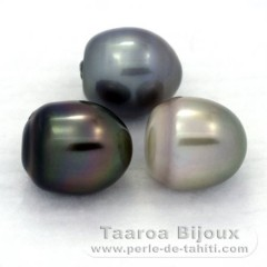 Lot of 3 Tahitian Pearls Semi-Baroque C from 12.2 to 12.4 mm