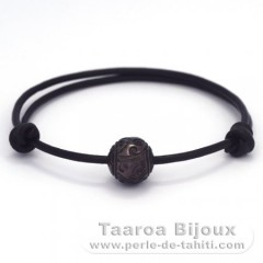 Leather Bracelet and 1 Tahitian Pearl Engraved  11.5 mm