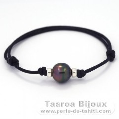 Waxed Cotton Bracelet and 1 Tahitian Pearl Ringed B 10.4 mm