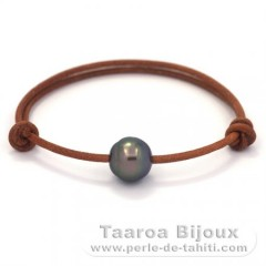 Leather Bracelet and 1 Tahitian Pearl Semi-Baroque C 11.9 mm