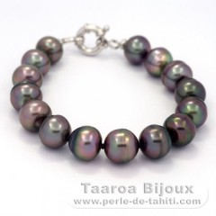 15 Tahitian Pearls Ringed B  10.2 to 10.9 mm Bracelet and Rhodiated Sterling Silver