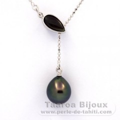 Rhodiated Sterling Silver Necklace and 1 Tahitian Pearl Semi-Baroque A 9.5 mm