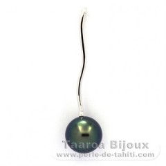 18K Solid White Gold Pendant and 1 Tahitian Pearl Round Top Gem 9.5 mm