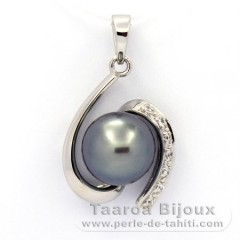 Rhodiated Sterling Silver Pendant and 1 Tahitian Pearl Semi-Baroque C 9.6 mm