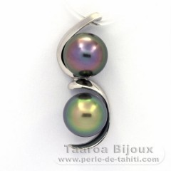 Rhodiated Sterling Silver Pendant and 2 Tahitian Pearls Semi-Baroque B+ 9.8 mm