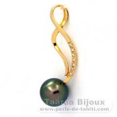 18K solid Gold Pendant + 7 diamonds 0.01 carats HS1 and 1 Tahitian Pearl Round Top Gem 9.3 mm