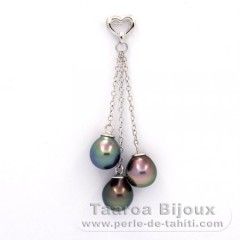 Rhodiated Sterling Silver Pendant and 3 Tahitian Pearls Semi-Baroque A/B  8.4 to 8.6 mm