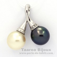 Rhodiated Sterling Silver Pendant and 2 Tahitian Pearls Semi-Baroque C 11.5 and 11.6 mm