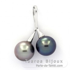 Rhodiated Sterling Silver Pendant and 2 Tahitian Pearls Round C 10.2 mm