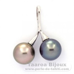 Rhodiated Sterling Silver Pendant and 2 Tahitian Pearls Round C 10.2 and 10.4 mm
